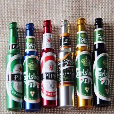 Mini Beer Bottle Pattern Smoke Metal Pipes Portable Creative Smoking Herb Pipe