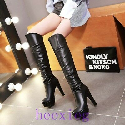 Hot Sale Women Pull On Platform Block Heel Over Knee Boot Thigh Ruched Shoe 9999