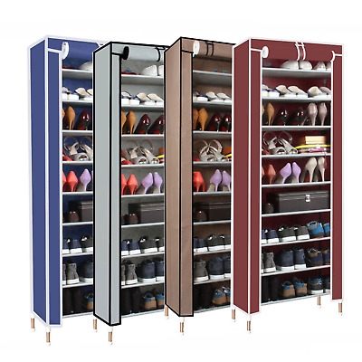 Shoe Rack Stackable Cabinet Storage Organiser Portable Wardrobe Shelf With Cover