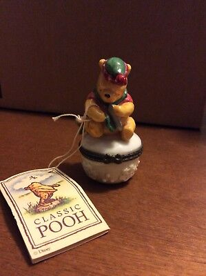 "Disney Midwest Cannon Falls Winnie The Pooh Trinket Box ""A Wintery Sort of Day"""