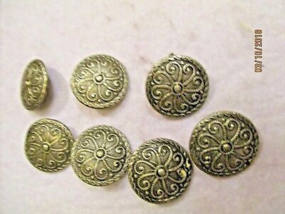 7 Vintage Round Silver Pewter Buttons Scroll Design Twisted Rope Rim Norway