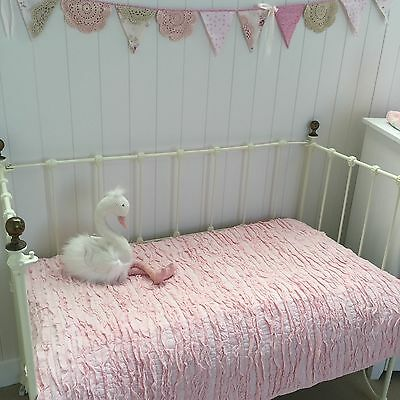Pink Frill Shabby Chic Girls Nursery Cot Quilt Lulu Cotton Crib Bedding Blanket