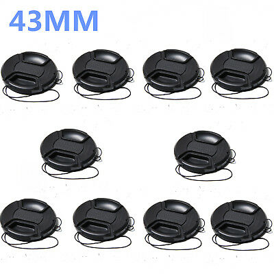 10PCS 43mm Center-Pinch Snap-On Front Lens Cap with Cord for Cameras
