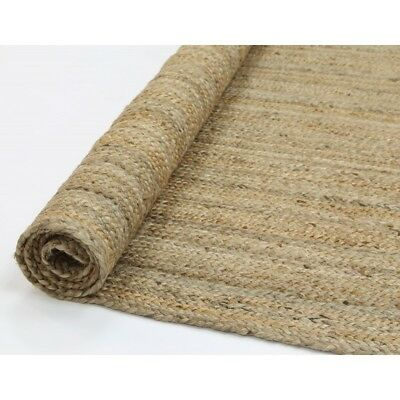 PALAWAN BEIGE NATURAL HAND WOVEN BRAIDED JUTE RUG RUNNER 80x300cm **NEW**