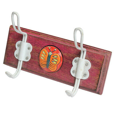 Stylish Hand Painted Pink Color Butterfly Emblem Coat Hook With 2 White Hooks