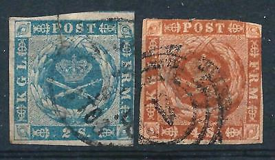 Denmark 1854 Pair 2sk & 4sk Imperf Dotted Background Used Good CV- fault on 2sk