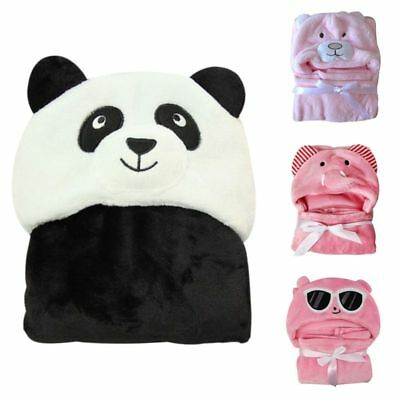 Newborn Soft Bath Towel Animal Pattern Blanket Baby Kids Hooded Bathrobe