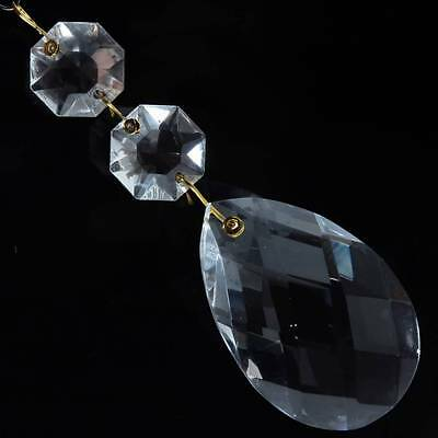 48mm Vintage Czech faceted Chandelier lamp glass teardrop crystal wired Prism