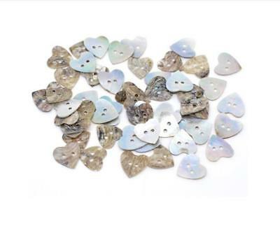25PCS Shell Natural Color Two Hole Heart Button Sewing Craft DIY Fashion 15*15MM
