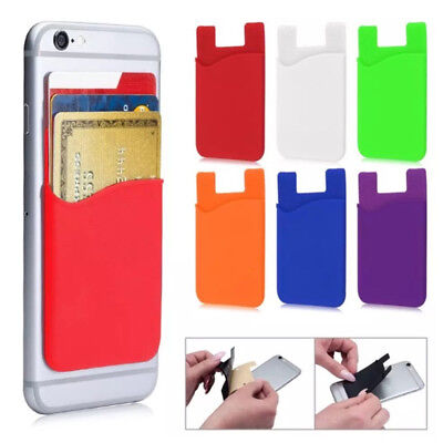 Silicone Wallet Credit Card Stick Pocket Holder Case Adhesive For Mobile Phone