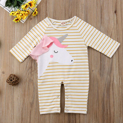 Newborn Toddler Baby Boy Girls Coverall Romper Bodysuit Jumpsuit Clothes Outfits