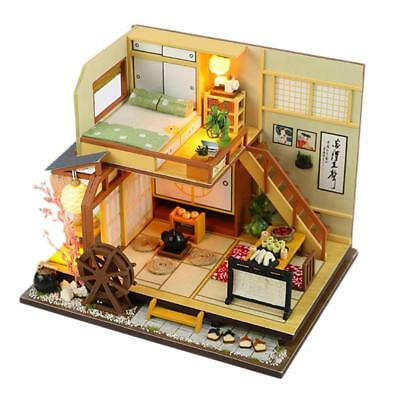 DIY Wooden Doll House Miniatures Kit LED Light Villa Japanese Style Dollhouse AU