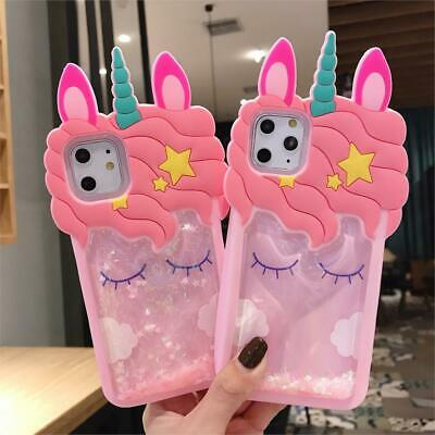 3D Cartoon Cute unicorn Horse Strawberry Silicone Case For iPhone XS Max&Samsung