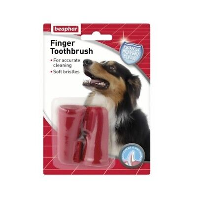 BEAPHAR Dog Puppy Cat FINGER BRUSHES Toothbrush Dental Oral Tooth Care Brush 2pk