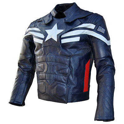 New Style Captain America The Winter soldier Leather Jacket 2014 Navy Blue
