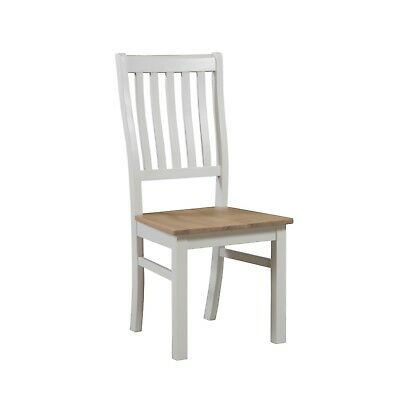Off White Country Antique Oak Dining Kitchen Chair (H19330)