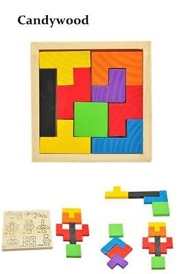 Wooden Tetris Puzzle Game Educational Toy Jigsaw Puzzle Toys Children Tangram