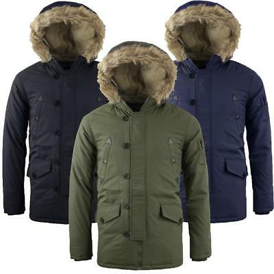 Mens Padded Tokyo Lee Fur Lined Sherpa Hooded Parka Quilted Coat Jacket LIAM
