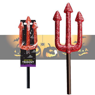 Halloween Devil Fork Trident Satan Red Glitter Fancy Dress Prop Accessory 50cm