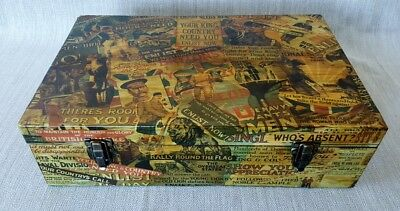 Vintage Wooden Box Decoupage Ww1