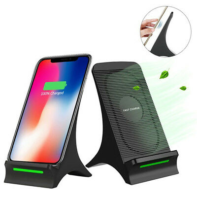 US Qi Wireless Fast 10W Charger Stand Dock Cooling Fan For Apple iPhone X 8Plus