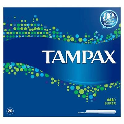 Tampax Super Tampons with Cardboard Applicator and Leak Protection - 20 Pack