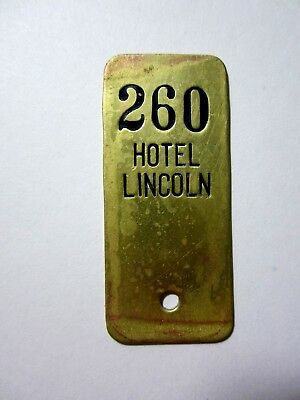 Vintage Antique HOTEL LINCOLN Brass Room 260 KEY FOB - NEW YORK - ?