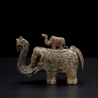 Old Rare Incredible Antique Chinese Bronze Ware Elephant Statue Sculpture Marked