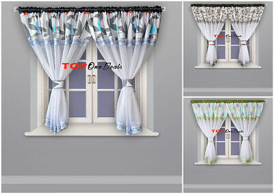 Modern Voile Net Curtains Ready Made Grey Green Brown Living Dining Room Bedroom