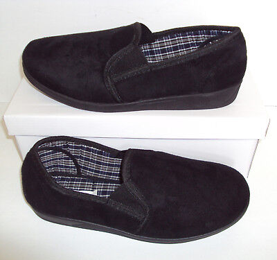 Mens Black Faux Suede Slippers Pull On New Warm Winter Indoor Shoes Sizes 6-11