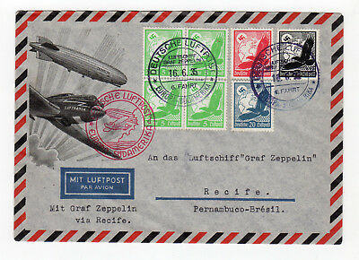 1935 Germany Zeppelin Cover, 6th South American Flight, SI 305d, Board Post*