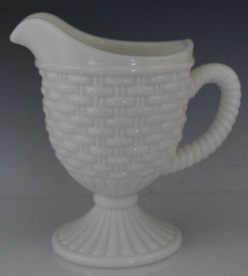 Vintage Imperial White Milk Glass Basket Weave Footed Creamer Pitcher