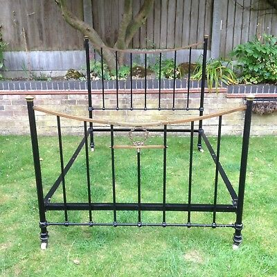 Antique Victorian Double Brass & Iron Bed Frame Old Vintage Architectural