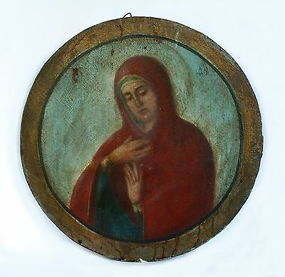 "Antique 19th C Russian Orthodox Hand Painted Round Icon ""Assuage my Sorrows"""