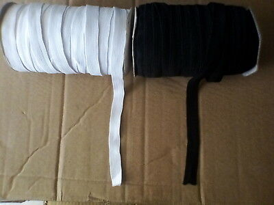 15 mm Black or White Flat Elastic Waist Band Stretch Woven Sewing Dress Trousers
