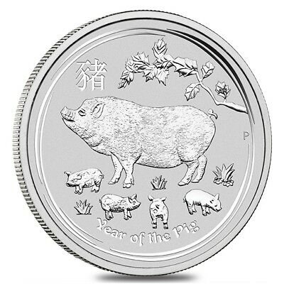 2019 5 oz Silver Lunar Year of The Pig BU Australian Perth Mint In Cap