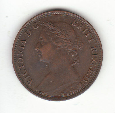 1893  Great Britain Queen Victoria 1 One Farthing. High Grade.