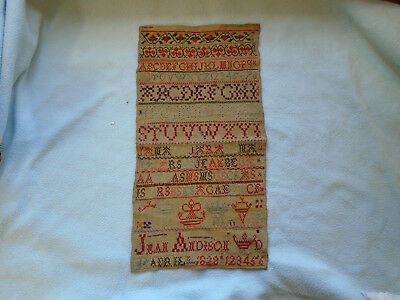 Rare 16th April 1828 Childs Needle Point Sampler Jean Andison