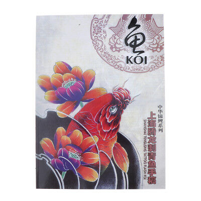 Chinese Traditional Koi Fish Flowers Tattoo Book Body Art Supply 74 Pages A4