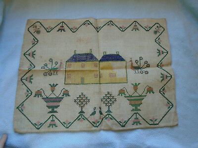 Rare 1800s Childs Needle Point Sampler One House unfinished