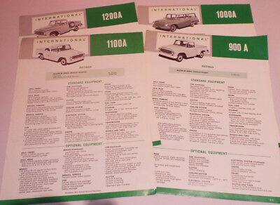 Vintage INTERNATIONAL Truck Brochure Lot ORIGINAL 4 piece 900A 1000A 1100A 1200A