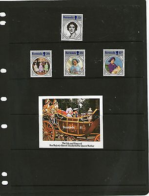 Barbuda 1985 QUEEN MOTHER SET & MINISHEET MNH
