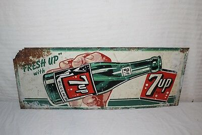 "Vintage 1940's 7Up 7 Up Soda Pop Gas Station 30"" Embossed Metal Sign"