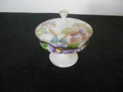 Antique Hand Painted Violets Raised Gold Gild Pedestal Trinket Holder ca. 1920