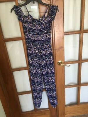 Girls Jumper Old Navy Blue Purple Flowered One Piece Size 10–12 Large