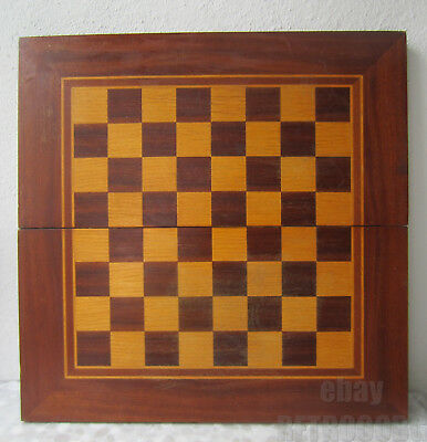 """19""""  antique vintage wooden inlay Checkerboard Game Board box chess backgammon.."""