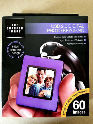 "THE SHARPER IMAGE Digital Photo Keychain USB 2.0 Rechargeable 1.5"" Screen Purple"