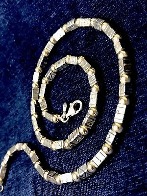 """Vinca Ancient Viking Runes Beads Necklace 925 Sterling Silver, Gold Filled 17"""""""