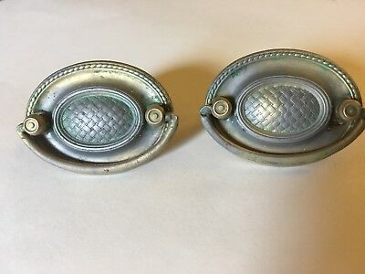 Lot of 2 Vintage Brass Plate Pressed Hepplewhite Style Oval Drawer Pulls