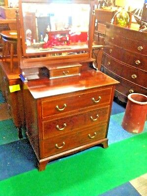 Edwardian Mahogany Dressing Chest with Marquetry decoration